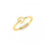 Solid Yellow Gold Initial Ring Letter D