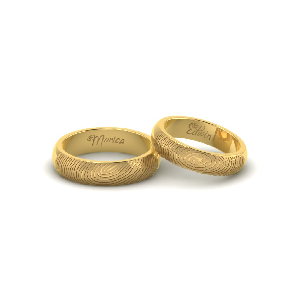 Fingerprint Gold Couple Rings For Engagement