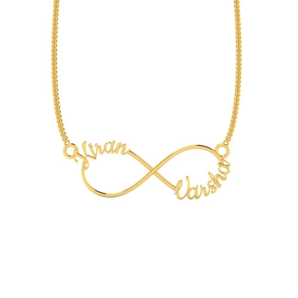Kiran Name Bands: Kiran Varsha Gold Infinity Name Pendant