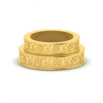 18K gold flower pattern band