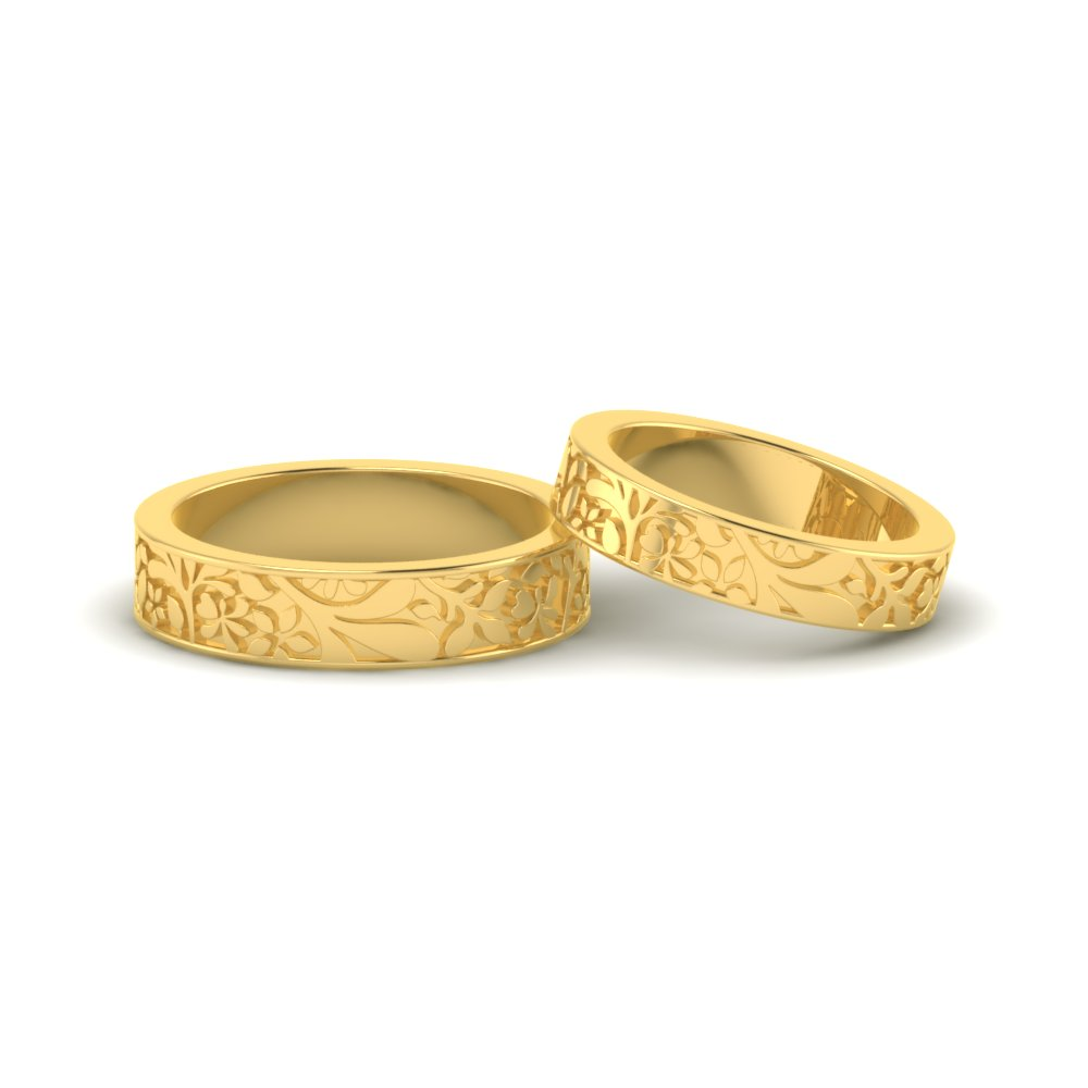 Floral Ring Designs Online|Gold Flower Pattern Band|