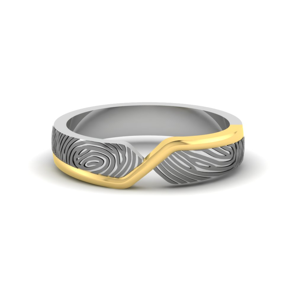 49cac7affd5 Platinum And Gold Fingerprint Ring Ring