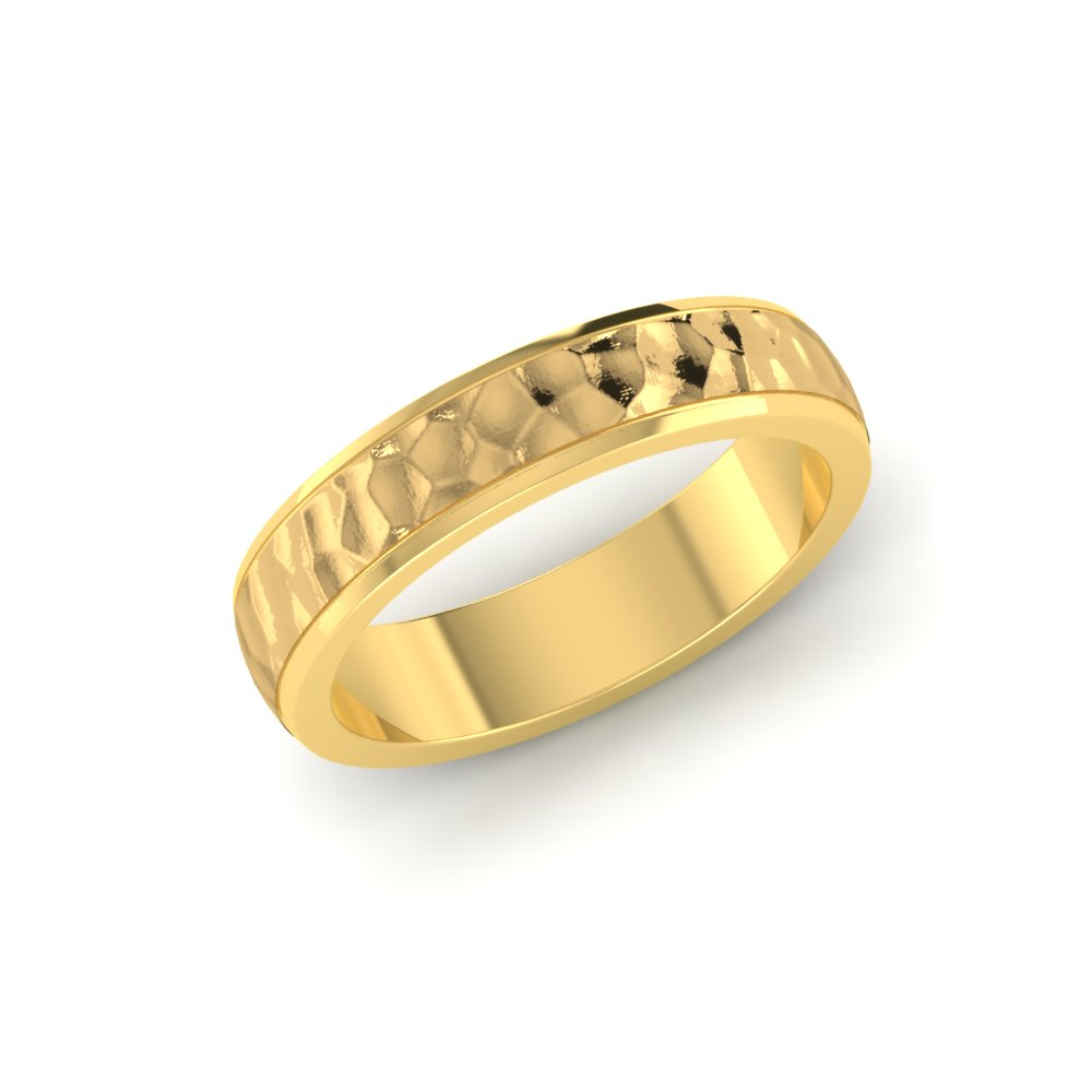 Hammered Yellow Gold Ring Mens Wedding Bands Yellow Gold Hammered