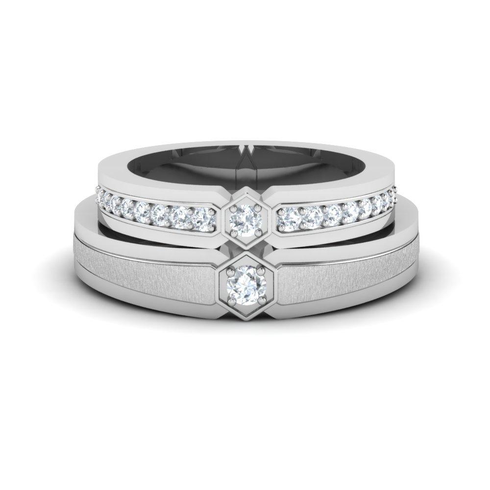 King Queen Platinum Couple Rings