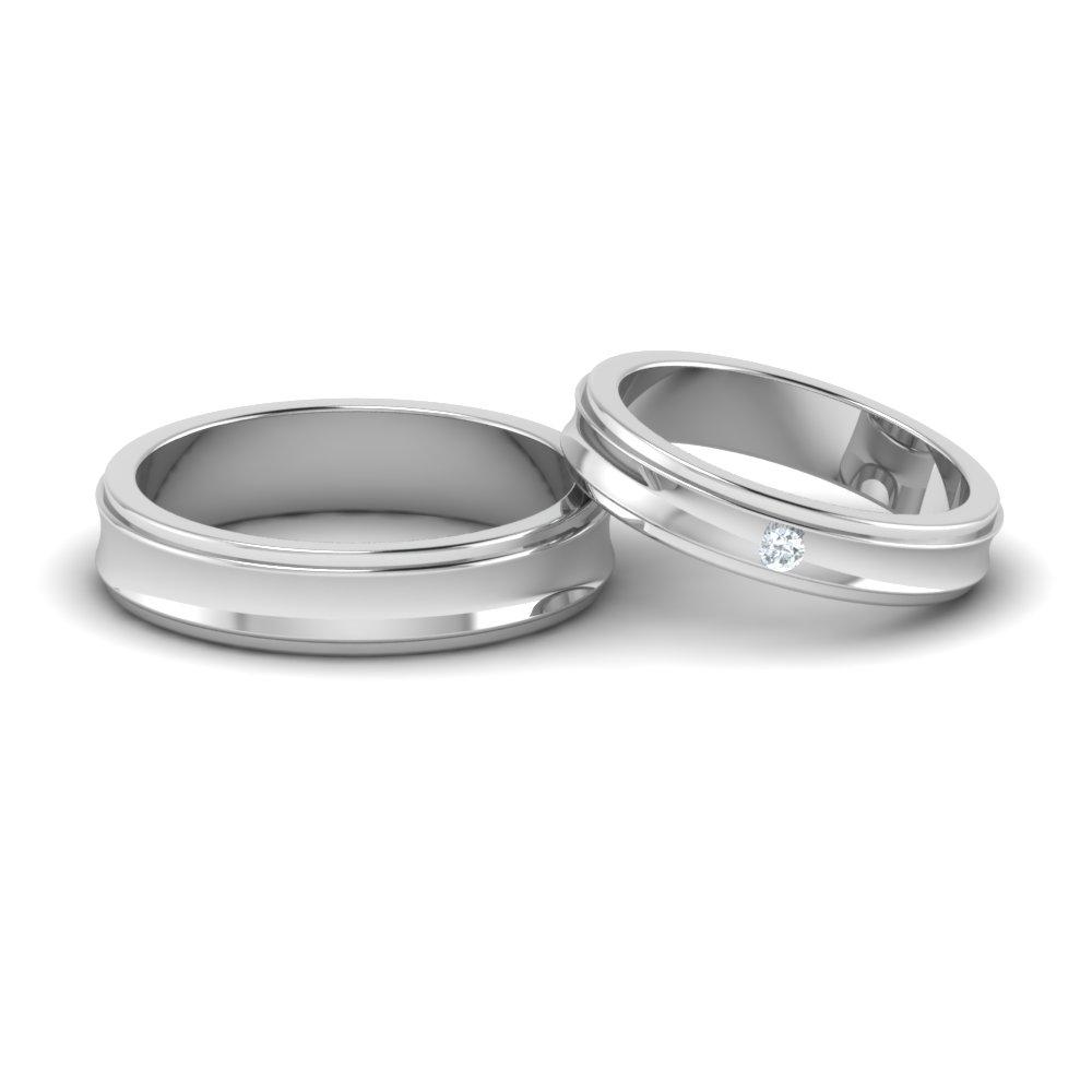High Polish Platinum Couple Rings