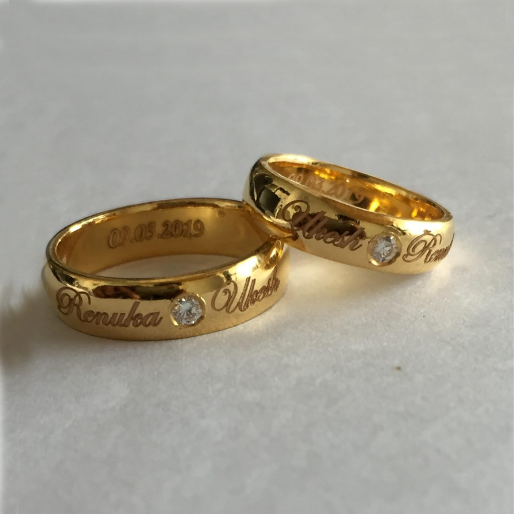 Name Engraved Gold Rings