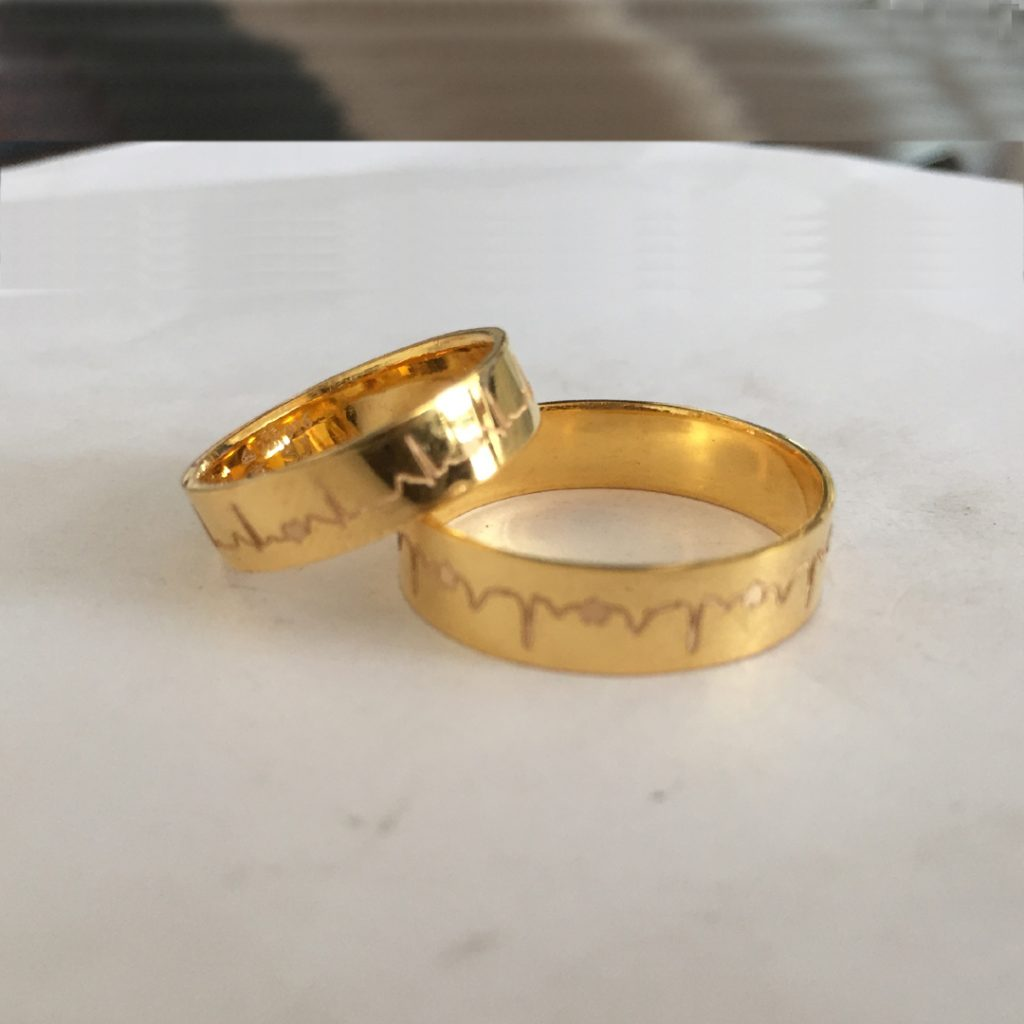 Heartbeat Gold Ring. Or ECG Wave Gold Rings