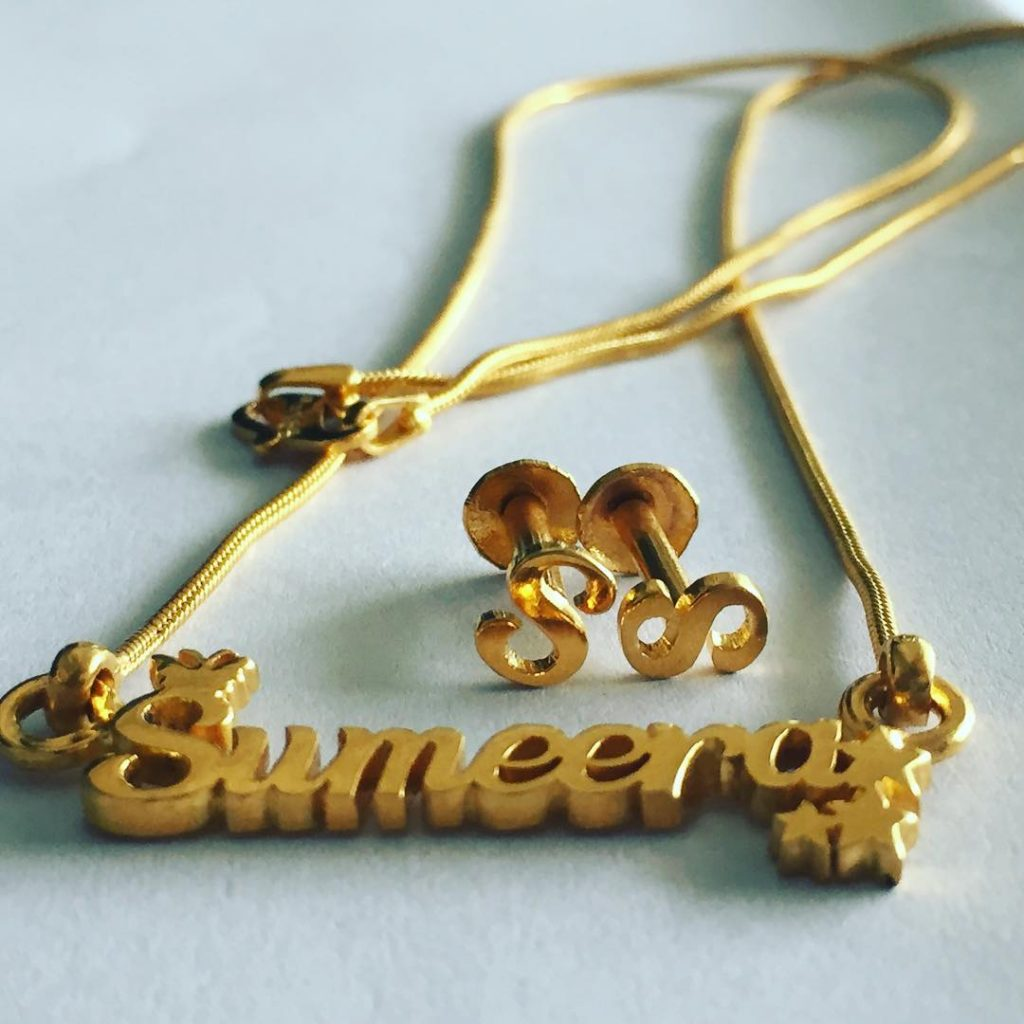 Sumeera Gold Name Pendant, Heartbeat Engraved Platinum Rings