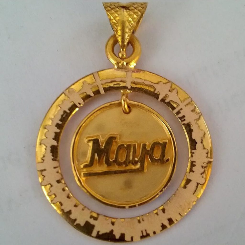 gold name pendant designs for female