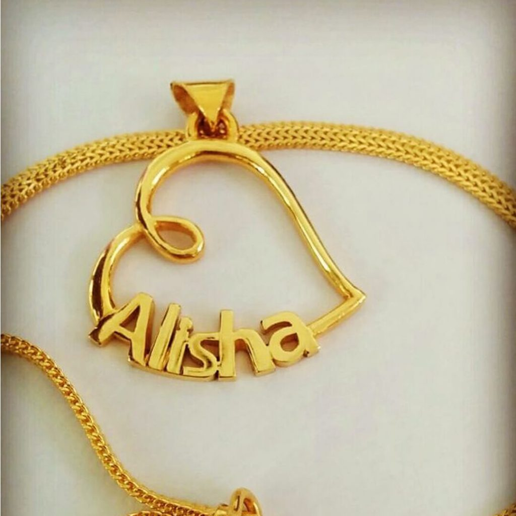 gold name pendant designs, gold pendant with name in urdu