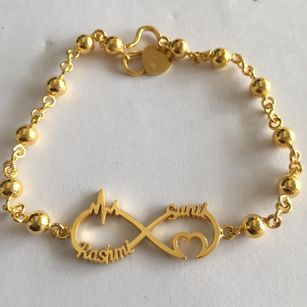 Customized Name Bracelets in Gold