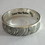 Silver Finger Print Rings Engraved