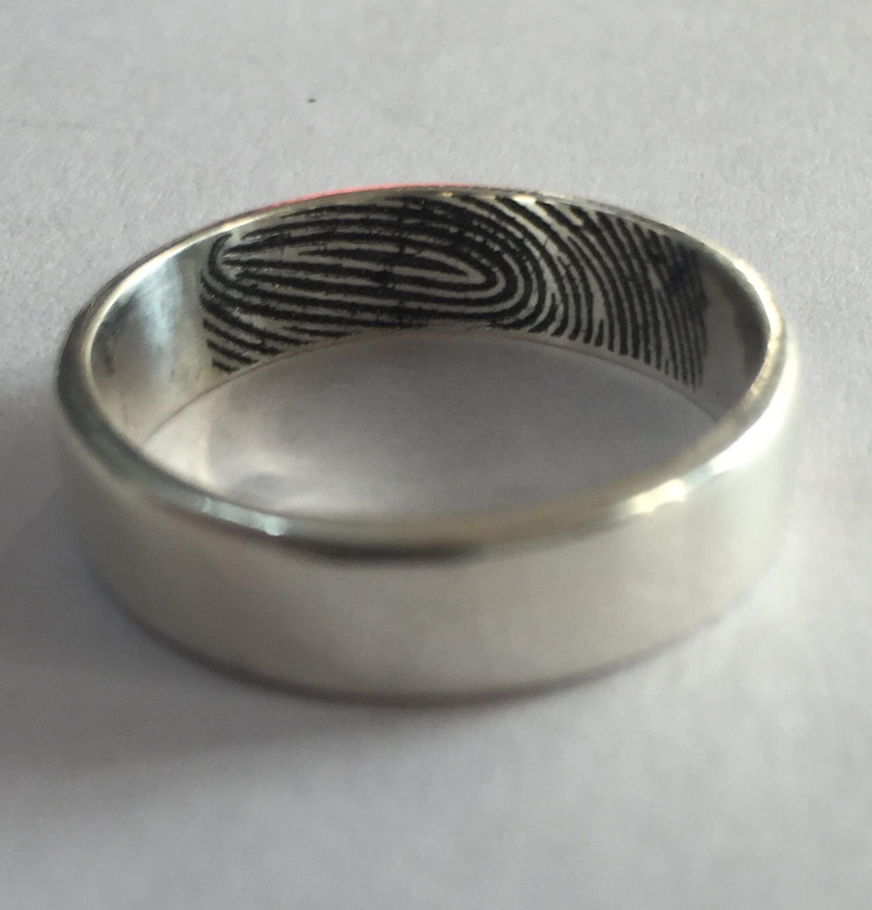 Fingerprint Rings In Silver Custom Made Silver Rings With Names Engraved