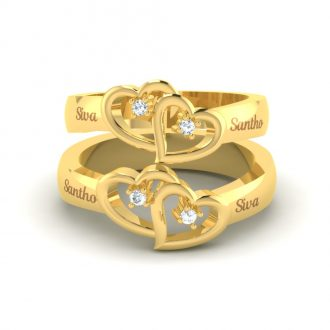 Double Heart Couple Rings