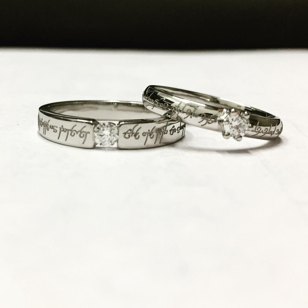 Personalized Platinum Lotr Diamond Rings