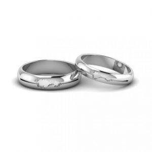 Soundwave Engraved Wedding Rings.