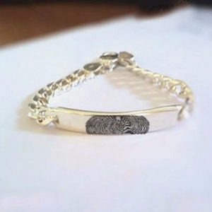 Fingerprint Engraved Silver Rakhi