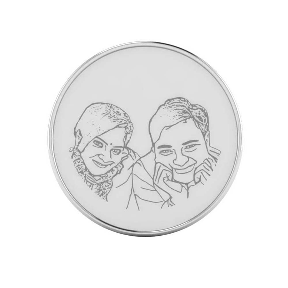 Smiling Couple Photo Engraved Coin