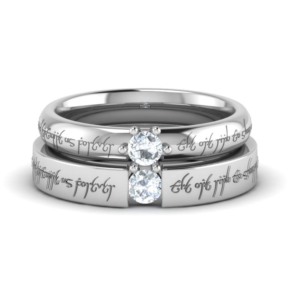 Personalized Platinum Lotr Diamond Rings