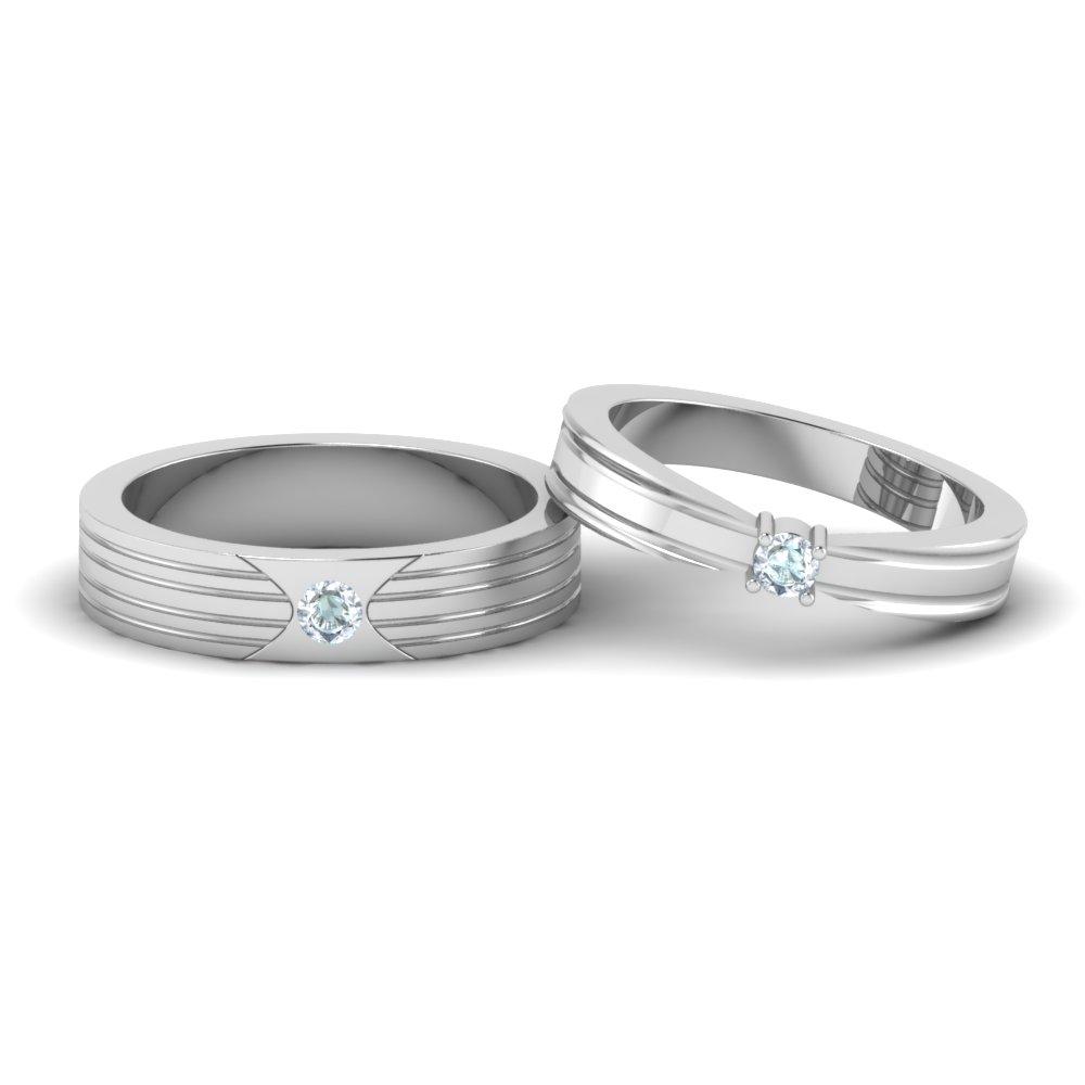 Unfolded Platinum Wedding Couple Bands