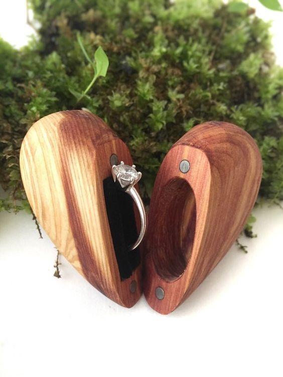 Green woodland trinket box Fiance gift Personalized engagement ring box