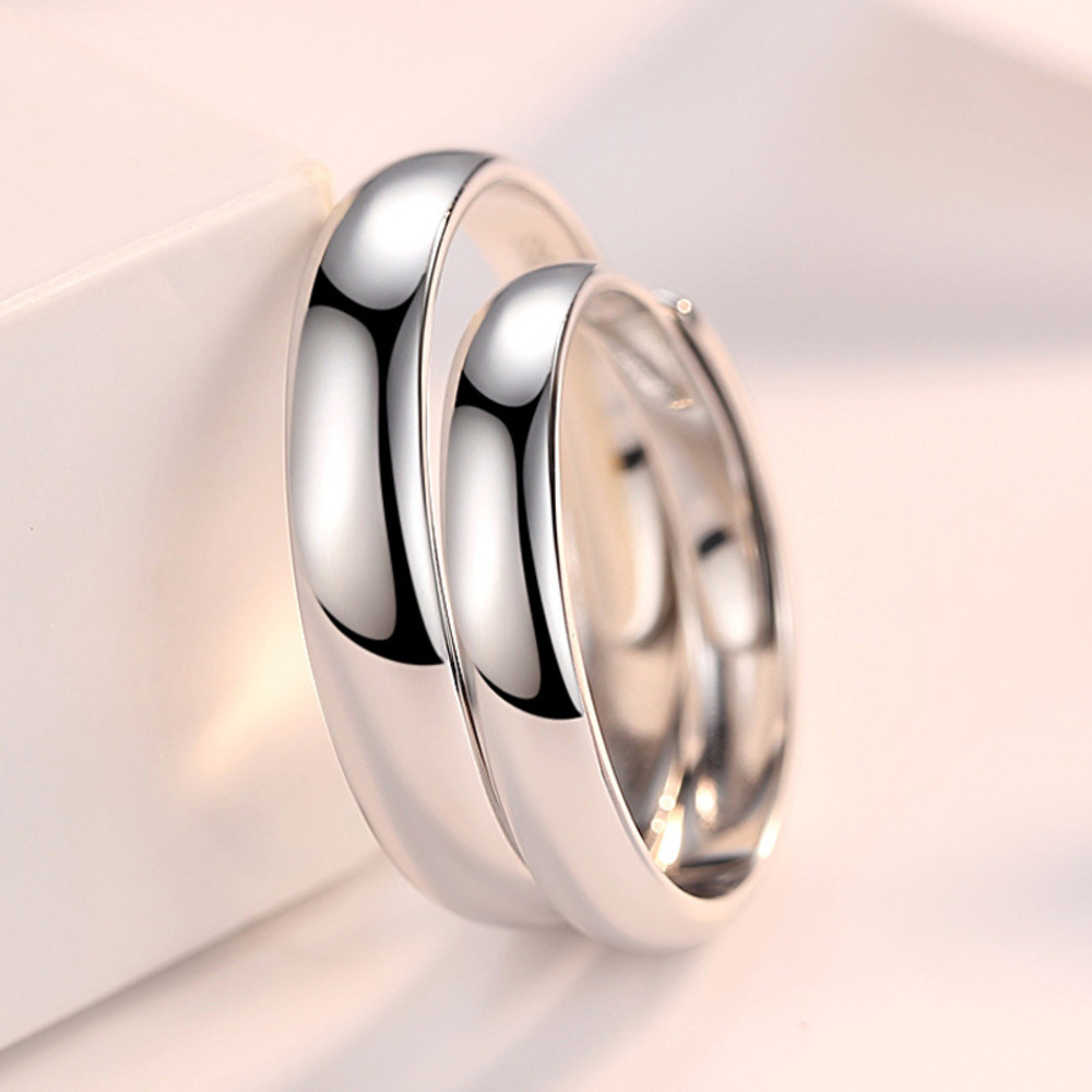Plain Silver Couple Rings with Name Engraved